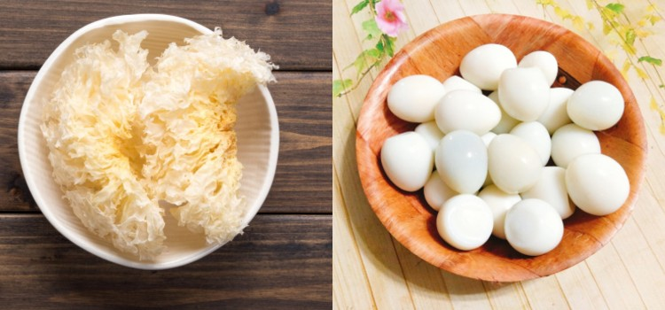 Trứng cút nấu nấm tuyết
