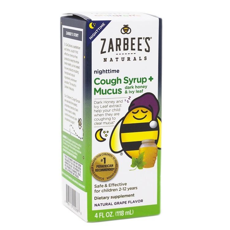 Siro ngừa ho, long đờm ban đêm Zarbee's Children's Nightime