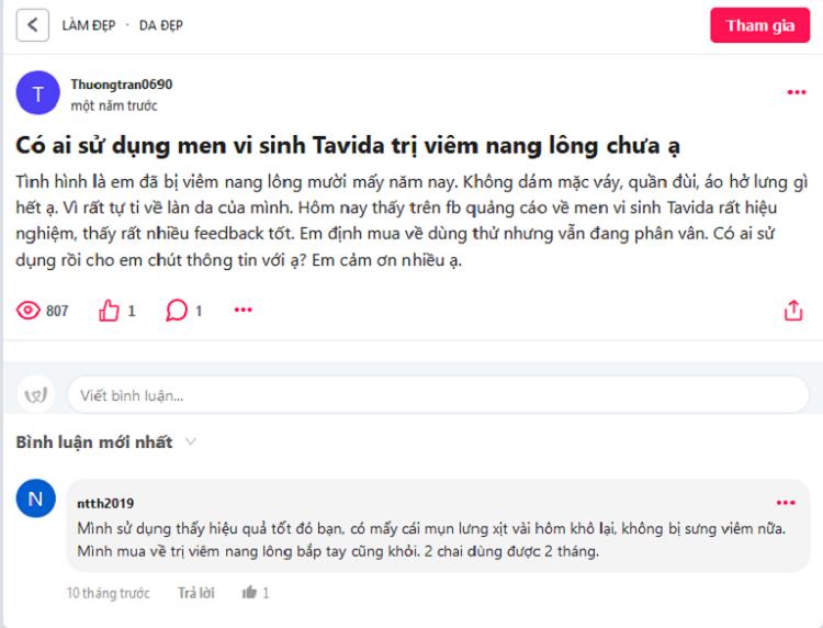 men vi sinh Tavida